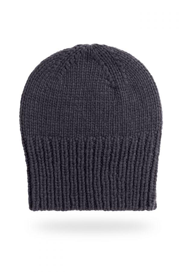 Mütze Sara mit breitem Bund, dunkelgrau